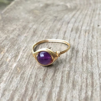 Amethyst ring, gold wire ring, wire ring, gold ring gemstone ring, handmade ring, Amethyst jewelry, healing stone ring, natural stone ring