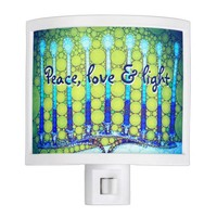 """Peace, Love & Light"" Blue Hanukkah Menorah Photo Night Light"