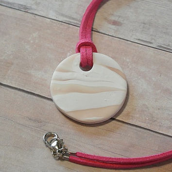 "Round Circle Zebra Beige White Necklace Polymer Clay Pendant Necklace - Flamingo Pink Faux Suede Cord - 10"" long OOAK"