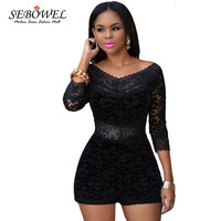 2017 Summer Womens Romper lace up Bodysuit Playsuit Wide V Neck Sexy Bodycon jumpsuit Long sleeve female Overalls Club wear