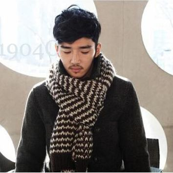 184*40cm New Arrival Male Brand Casual Shawl Wrap Winter Men Wave Point Knitted Viscose Scarf Long Large Scarves Fashion