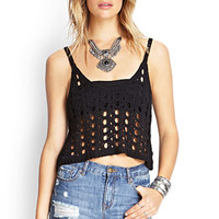 FOREVER 21 Open-Knit Crop Top