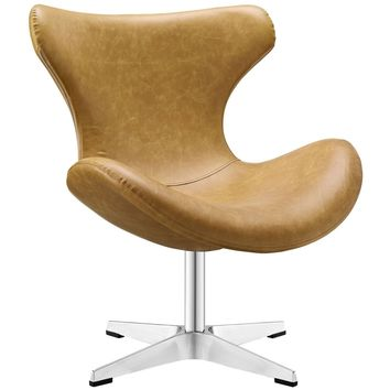 Helm Lounge Faux Leather Lounge Chair