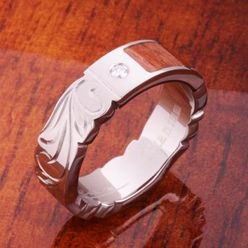 6mm Titanium Koa Wood Ring with Diamond Inlay Flat Shape Cut Out Edge