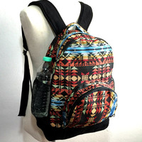 Navajo Backpack, Canvas Backpack, Teen school backpack, Tribal Aztec backpack, Hippie Hipster backpack, Ikat folk backpack, Small backpack