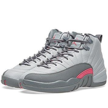 Nike Girls Air Jordan 12 Retro GG Wolf Grey/Vivid Pink Leather Jordan shoes women