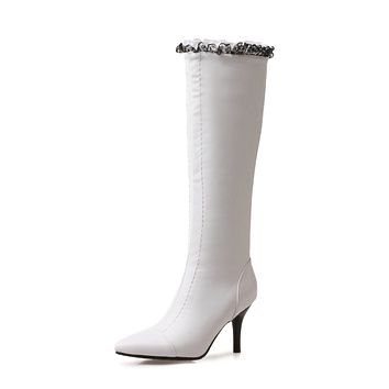 Lace Pointed Toe Tall Boots Winter Shoes for Woman 1372