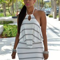 White Striped Halter Cut Out Backless Overlay Dress