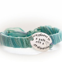 Silk Wrap Cuff - Personalized Bracelet - Quote Jewelry - Hand Stamped