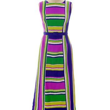 Vintage Maxi Dress Tori Richard Striped Bright Colors 1970s 35-30-44