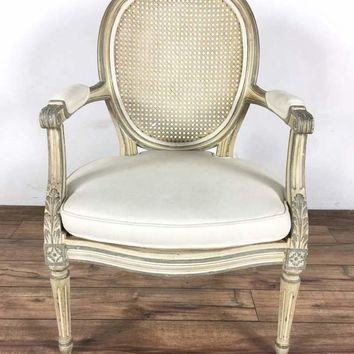 Two antique white painted wood French style armchairs
