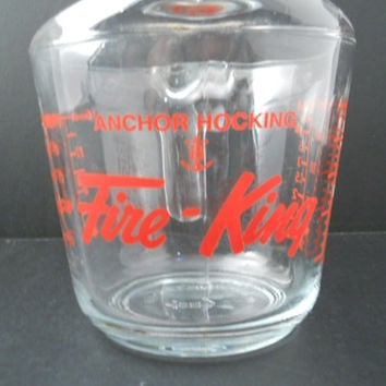 Fire-King 2 Cup Measure Red Label Anchor Hocking Measuring Cup