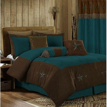 Brown Rustic Turquoise Western Star Comforter - 7 Piece Set