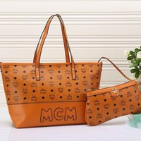 MCM Women Fashion Handbag Tote Bag Purse Wallet Two-Piece Brown