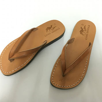 leather flip-flop slippers for woman flat sole convenient natural leather woman leather sandal