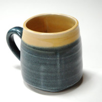 Blue yellow clay cup,square pottery mug,yellow blue mug,wheel thrown pottery,geometric clay cup,large coffee mug,large mug handle,blue mug