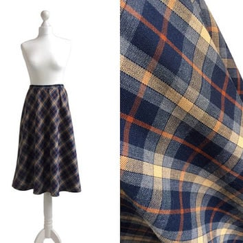 1970's Plaid Skirt - Century Boston - Union Workers Label - Made In USA - 70's Vintage Skirt - Blue A Line Flared Checked Skirt