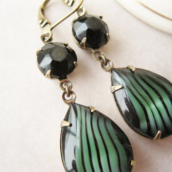 Black and Green Drop Earrings Old Hollywood 40s Vintage Glam Vintage Rhinestones New Years Eve Dramatic Statement Earrings Retro Jewelry