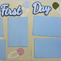 CLEARANCE! Was 14.95 now only 7.47  Handmade Baby's First Day (Boy) 12X12 Premade 2-Page Scrapbook Page Layout