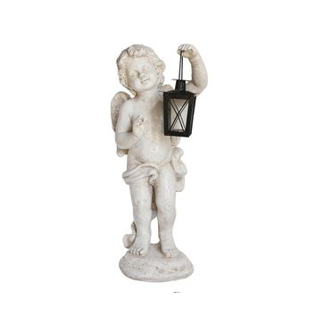 "20"" Distressed Ivory Cherub Angel with Tealight Glass Candle Lantern Outdoor Patio Garden Statue"