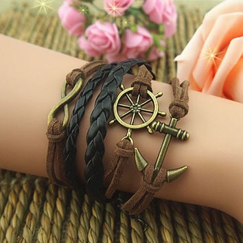 Pirate's  Anchor  Braided Leather Bracelet, Best friend bracelet, infinity bracelet, wax cord bracelet-The best gift