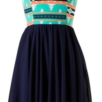 Navy Sweetheart Chiffon Dress