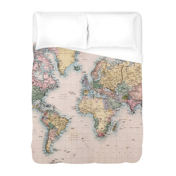 Vintage Map Duvet Cover