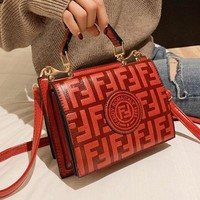 FENDI Fashion Women Leather Handbag Bag Shoulder Bag Crossbody Satchel Red