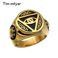 Mens Rings With The All-seeing-eye illunati pyramid/Eye Symbol Silver Tone Gold Color 316L Stainless Steel Signet Ring