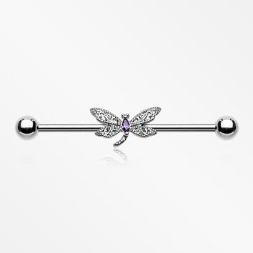 Glam Dragonfly Sparkle Industrial Barbell
