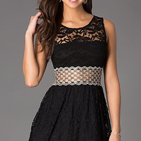 Short Lace Sleeveless Scoop Neck Dress by As U Wish