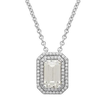 Emotions Sterling Silver Tiered Octagonal Halo Pendant - Made with Swarovski Zirconia (White)