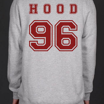 Hood 96 Calum Hood On back Heather Grey Unisex Crewneck Sweatshirt