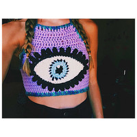 Unique Crochet Crop Top - Third Eye - Festival Top - Evil Eye - Customizable - Handmade Crochet Top - Bikini Top