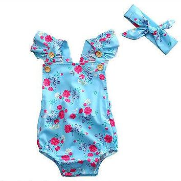 Cotton Infant Baby Girls Floral Bottom Romper Jumpsuit Clothes with Headband