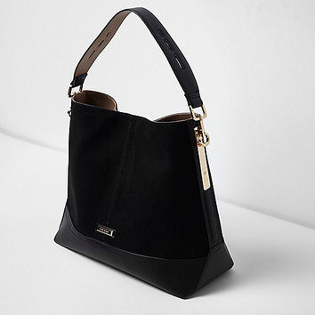 Black panel slouch bag - shoulder bags - bags / purses - women