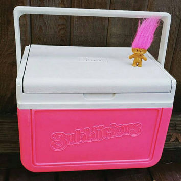Vintage Coleman Cooler Bubblicious// Neon pink// promotional item// Rare HTF Coleman// Summer// Glamping// festival EDM// 1991 Coleman.