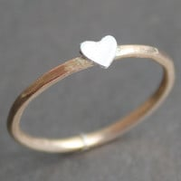 Heart Ring 14K Gold Vermeil Band with Small Heart - READY TO SHIP