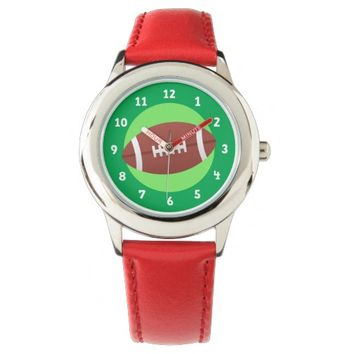 Football on green background kids wristwatches
