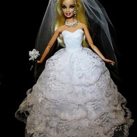 Layered Barbie Wedding Dress Bridal Gown
