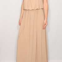 Beige bridesmaid dress Long nude dress Tan maxi dress