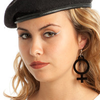 Black Jumbo Girl Power Earrings