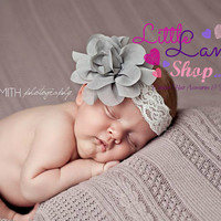 Grey Fancy Baby Headband, Baby Head Bands, Infant Hair Band, Newborn Girl Props, baby photography props, Toronto Canada