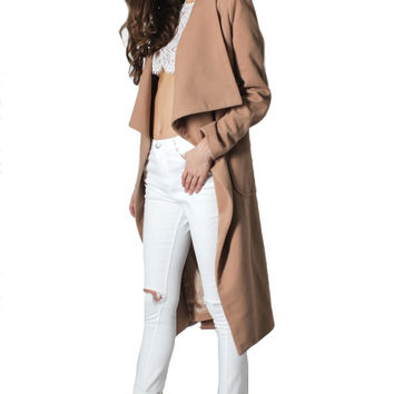 New York Minute Knee Grazer Coat - Camel RESTOCKED!