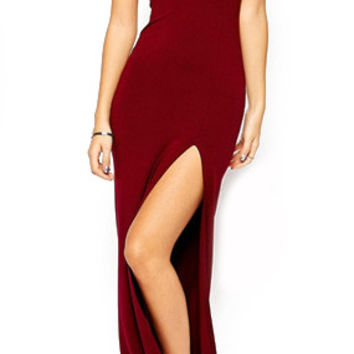 Wine Red Off Shoulder Cut-Out Back Evening Dress with Long Side Slit