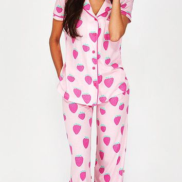 Short-Sleeve Strawberry Bop Jersey Knit Pajamas w/Roll Tab Pants (Medium-XL)