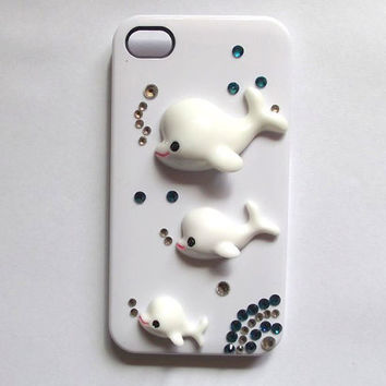 three whales iphone 5 case - handmade iphone 4s case, iphone 4 cases, crystal iphone 5 cover case
