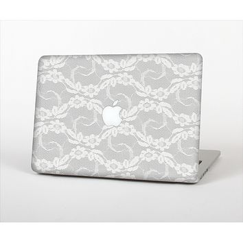 "The White Floral Lace Skin Set for the Apple MacBook Pro 13"" with Retina Display"