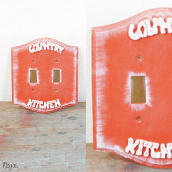 Vintage Country Kitchen Light Switch Plate // Wall Decor // Double Switch Cover // Vintage Ornate Distressed Polkadots