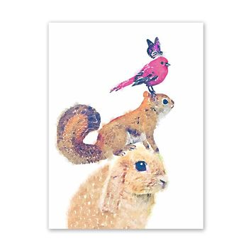 Canvas Wall Art Rabbit Squirrel Bird Animal Painting Modern Home Decoration E2S